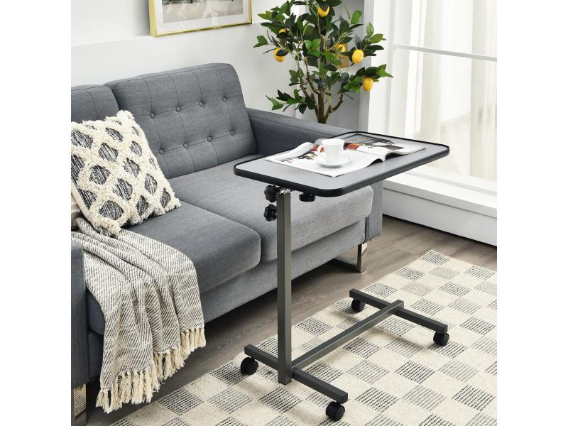 giantex table de lit support ordinateur inclinable a roulette structure en metal hauteur reglable pour lit et canape gris