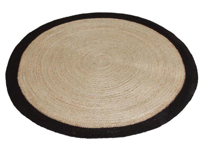 tapis rond jute naturelle avec bords noirs diametre 150cm