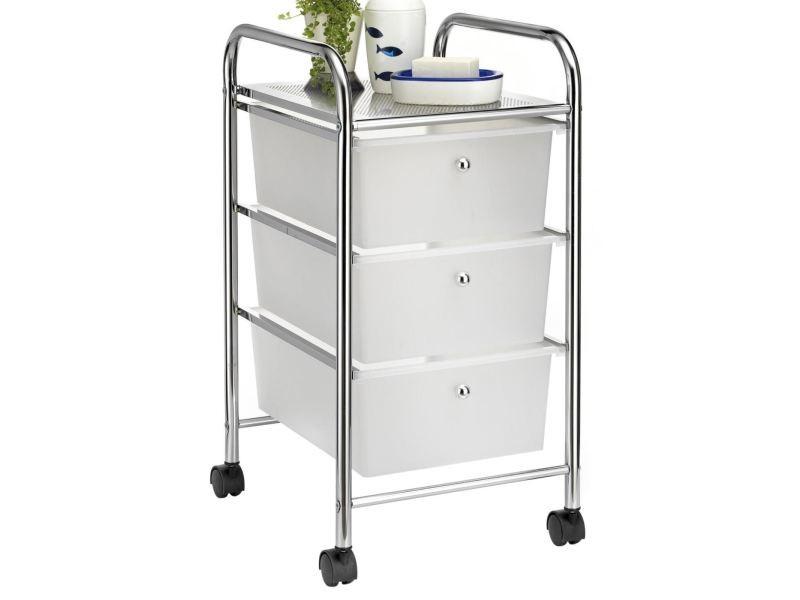 caisson sur roulettes gina chariot avec 3 tiroirs en plastique blanc transparent et 1 etagere rangement salle de bain metal chrome