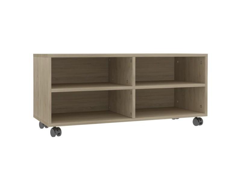 vidaxl meuble tv avec roulettes chene sonoma 90x35x35 cm agglomere