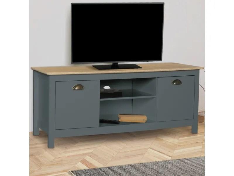 meuble tv vintage igor bois et gris
