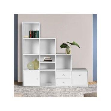 meuble de rangement escalier 4 niveaux bois blanc avec porte et tiroirs p70587133