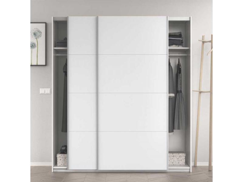 armoire 2 portes coulissantes blanc brillant copist l 180 x l 63 x h 200 cm