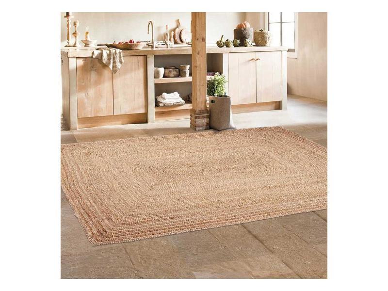 tapis kilim rectangulaire jt jute nature beige salon tisse a la main jute