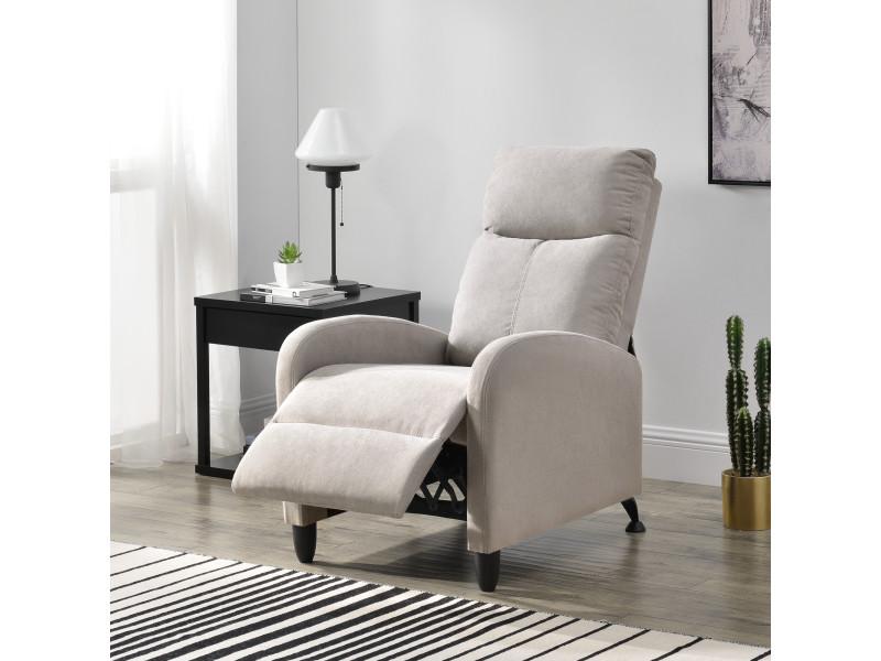 Fauteuil Relaxant Avec Dossier Inclinable Et Repose Pieds Housse Textile Marron 102x60x92 Cm En Casa Vente De Tous Les Fauteuils Conforama