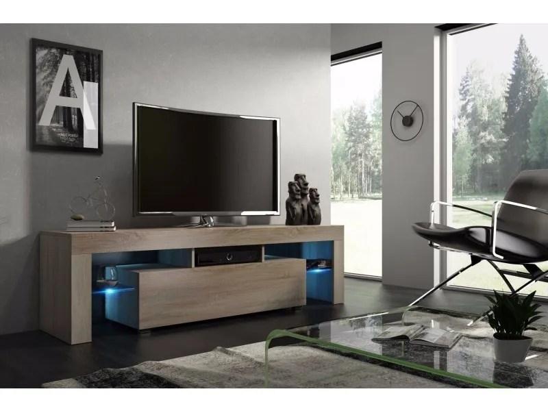 meuble tv mdf 160 cm couleur chene avec led