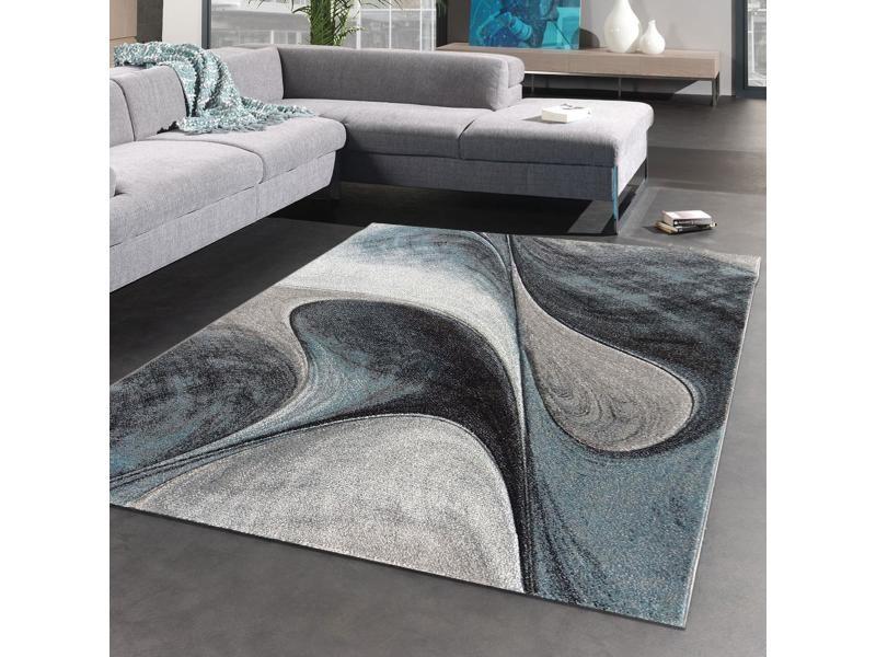tapis design et moderne 120x170 cm rectangulaire madila bleu salon adapte au chauffage par le sol