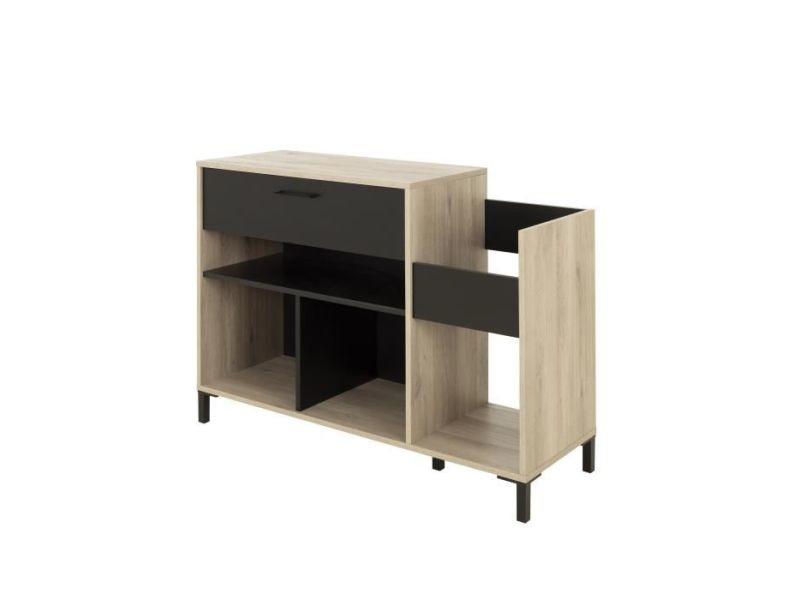 meuble tv meuble hi fi vinyle vintage meuble platine style urbain decor chene l 115 x p 40 x h 81 cm