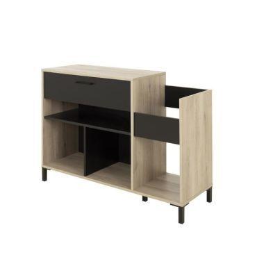 meuble tv meuble hi fi vinyle vintage meuble platine style urbain decor chene l 115 x p 40 x h 81 cm i66962040