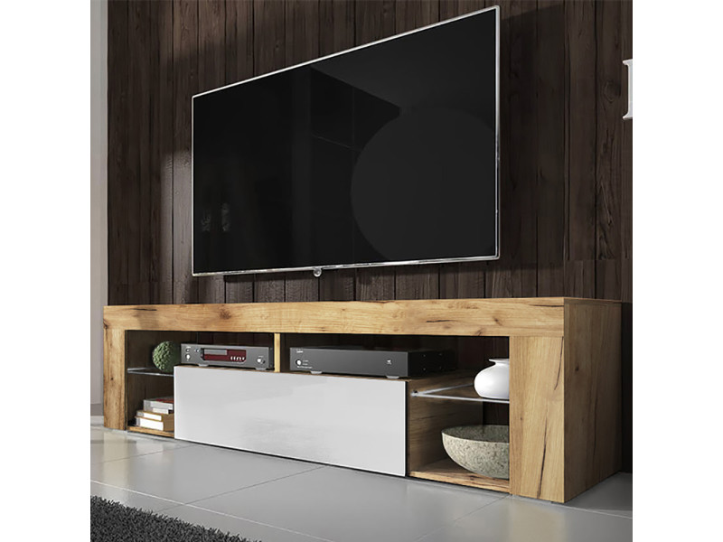 meuble tv banc tv bianko 140 cm chene lancaster blanc brillant