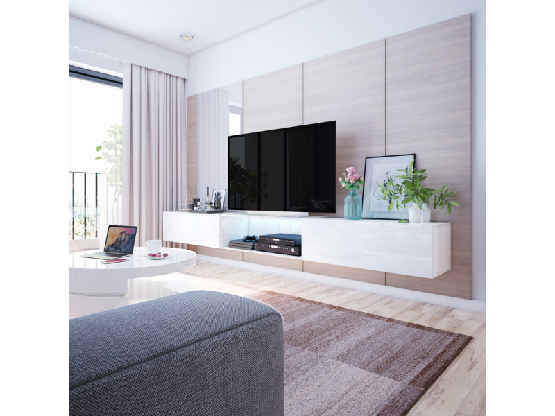 meuble tv banc tv larka 300 blanc style moderne style minimaliste