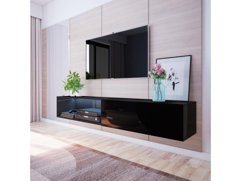 meuble tv larka 200 cm noir avec led