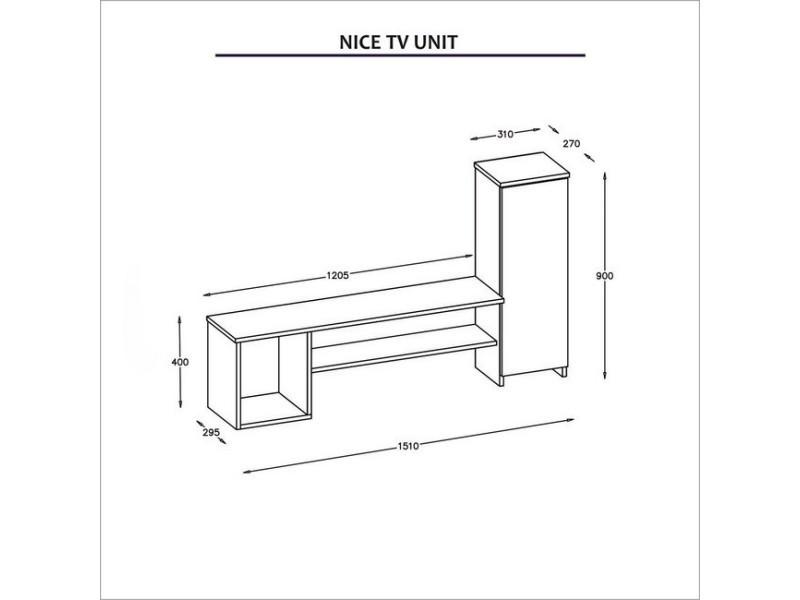 homemania nice meuble tv avec des portes des etageres du salon blanc en bois 151 x 29 5 x 90 cm