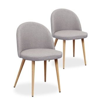 chaises scandinaves cecilia tissu gris