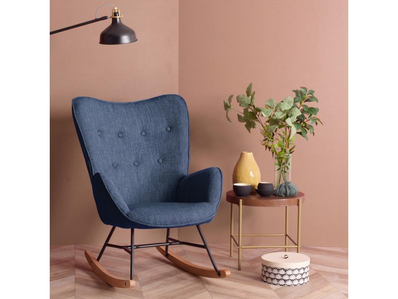 fauteuil a bascule en tissu bleu fonce