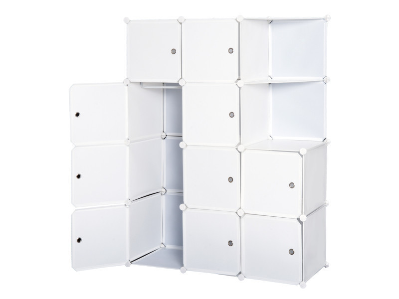 Armoire Penderie Cube Multi Rangements 10 Cubes 2 Etageres Autocollants Decoratifs 111l X 47l X 145h Cm Blanc Vente De Homcom Conforama
