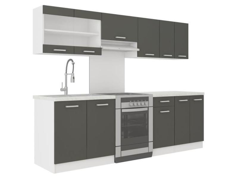 cuisine complete ultra cuisine complete avec plan de travail l 2m40 gris mat