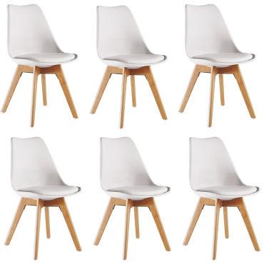 lot de 6 chaises scandinaves blanches lorenzo assise rembourree salle a manger cuisine ou bureau t54729230
