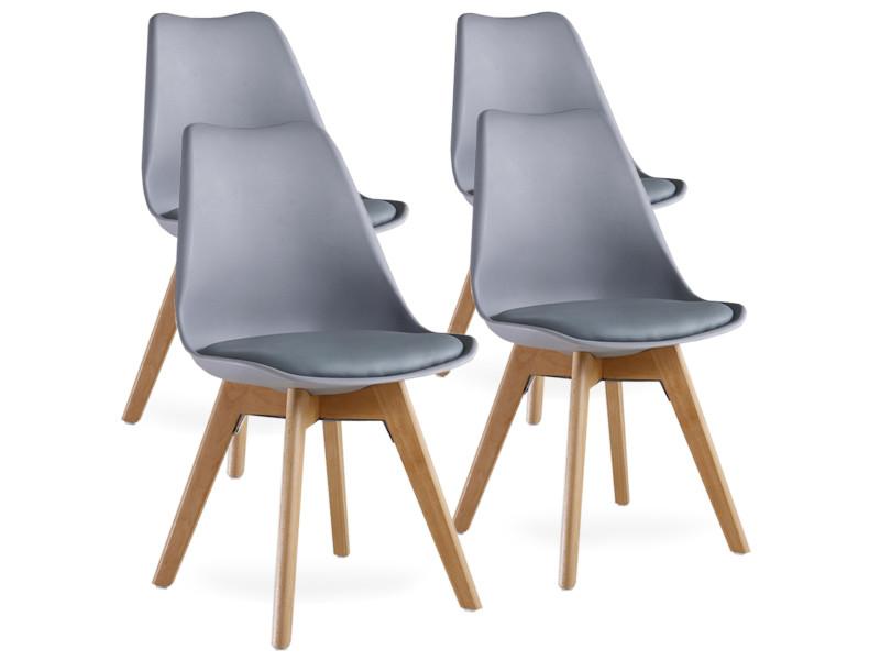 lot de 4 chaises scandinaves grises lorenzo assise rembourree salle a manger cuisine ou bureau