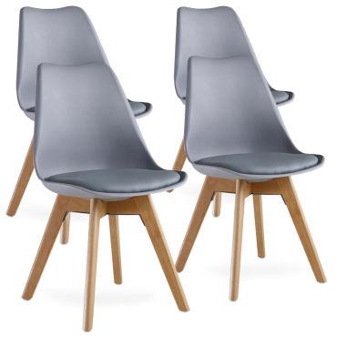 lot de 4 chaises scandinaves grises lorenzo assise rembourree salle a manger cuisine ou bureau w83497118