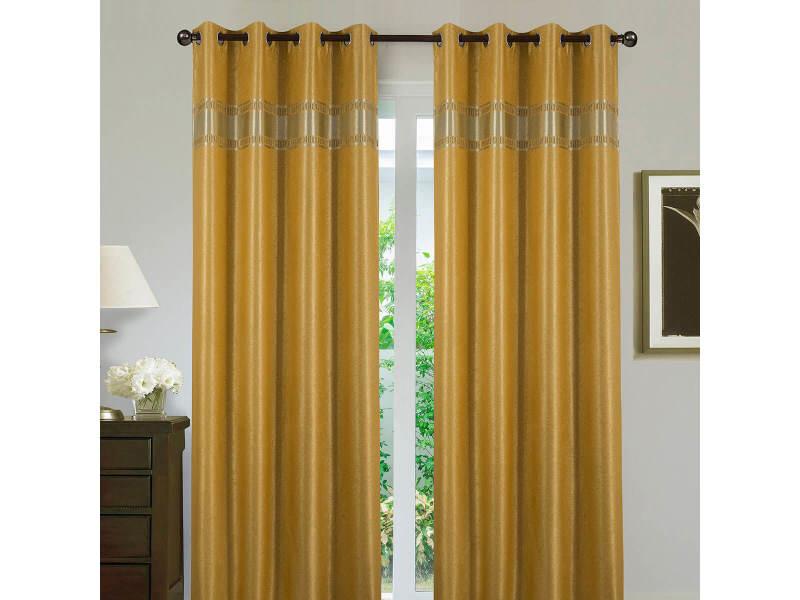 paire de rideaux obscurcissant elegante jaune moutarde dimensions 140x260cm