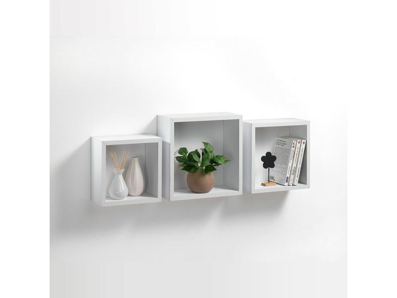 kit 3 etageres cubes gigognes blanc
