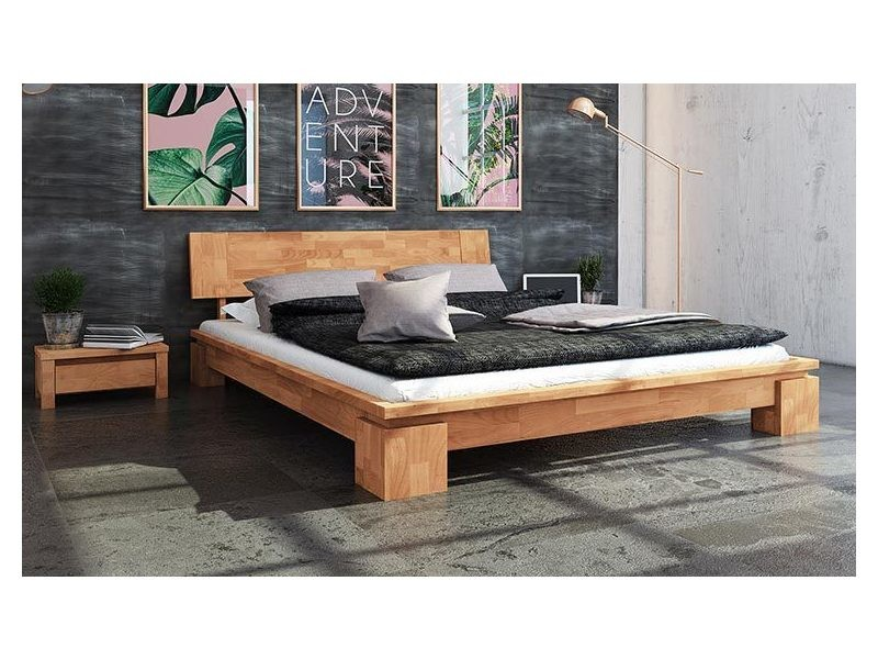lit 180 x 200 cm en bois massif naturel