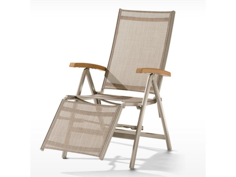 fauteuil relax de jardin en aluminium coloris champagne naturel 95 x 62 x 109 pegane
