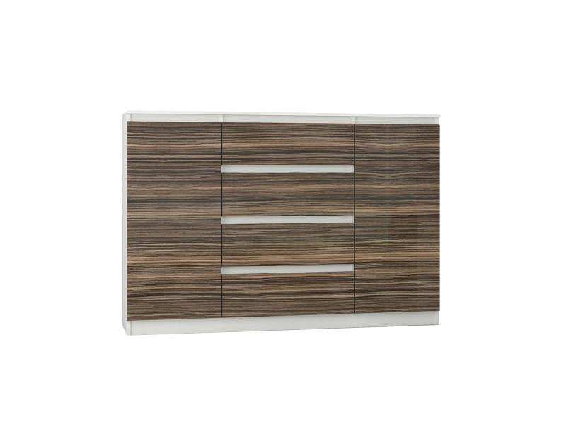 porto w2 commode contemporaine meuble rangement chambre salon 140x40x98 cm 4 tiroirs finition laquee buffet sejour blanc zebrano