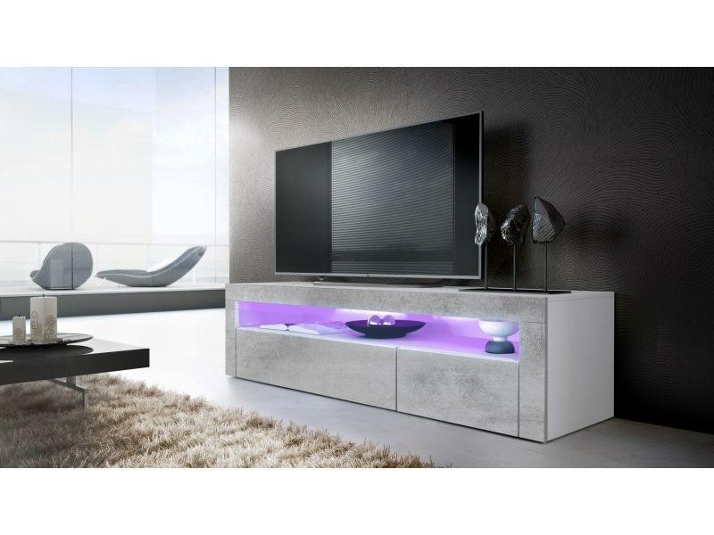 meuble tv 155 cm blanc mat facade aspect beton led
