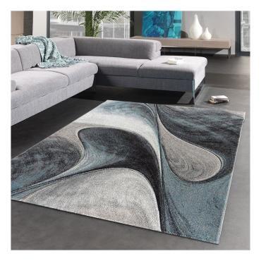 tapis design et moderne 200x200 cm rond madila bleu salon adapte au chauffage par le sol m24610320