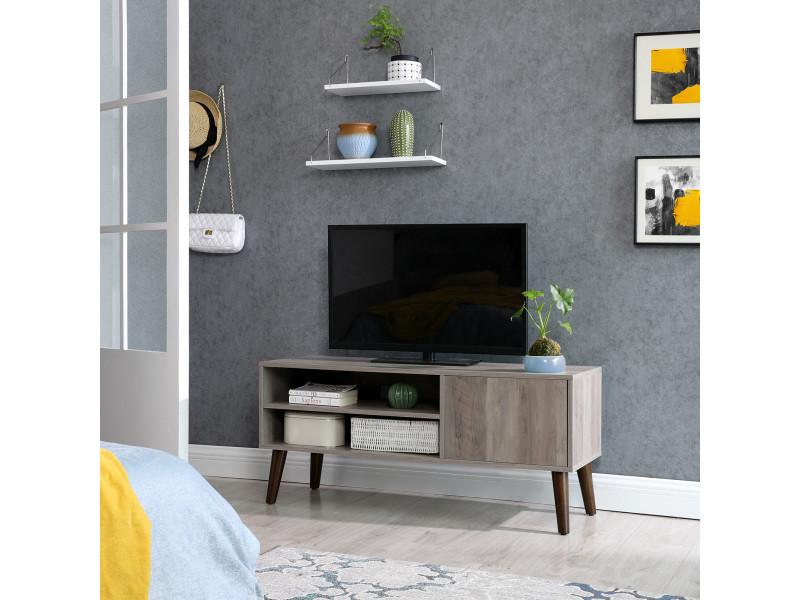 vasagle meuble tv pour television jusqu a 43 pouces buffet bas style moderne du milieu du siecle pour console de jeux dans salon salle de jeu