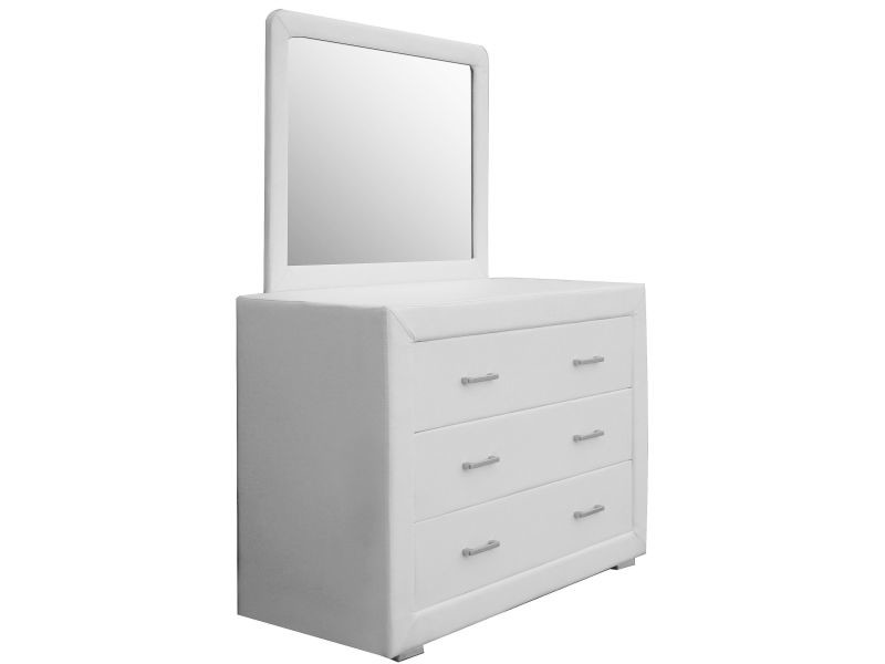 ensemble commode et miroir en pu coloris blanc p 11629 co leo vente de commode conforama