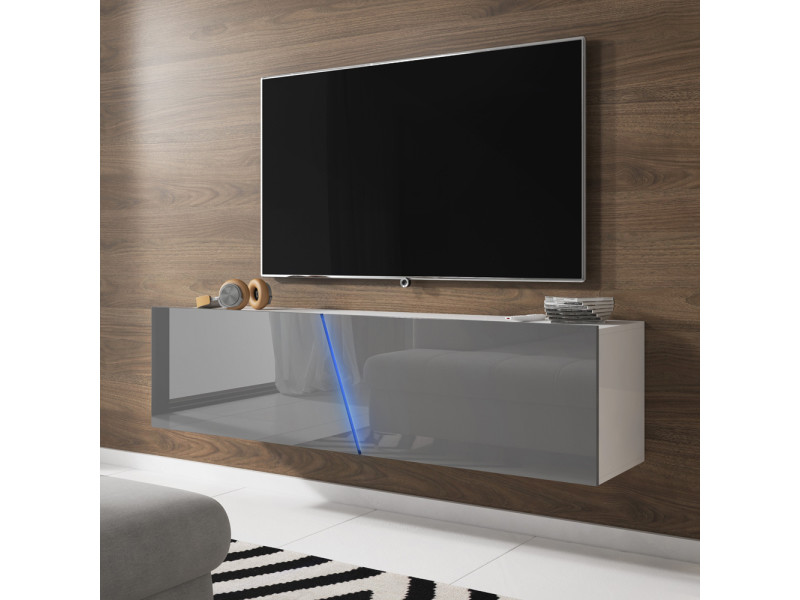 meuble tv suspendu alamara 160 cm blanc mat gris brillant led rgb