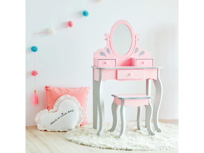fantasy fields par teamson enfants coiffeuse et tabouret rose en bois avec miroir td 12851a