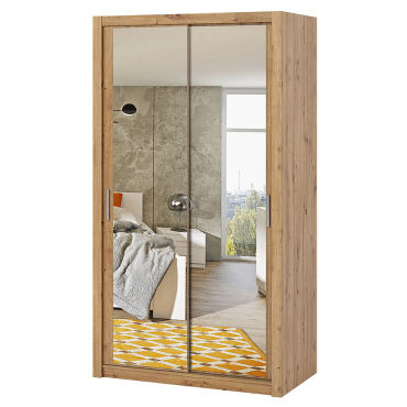 armoire portes coulissantes rinker 120 cm chene artisanal avec miroir f60893953