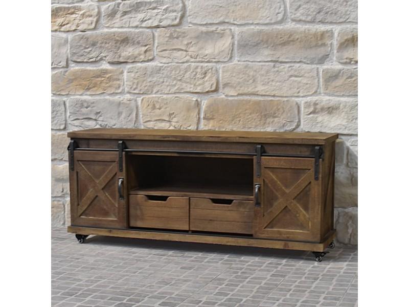 meuble tele tv industriel campagne en bois fer 140 cm
