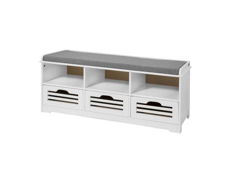 meuble d entree banc de rangement commode a chaussure avec coussin rembourre 3 compartiments ouverts et 3 cubes sobuy fsr36 w