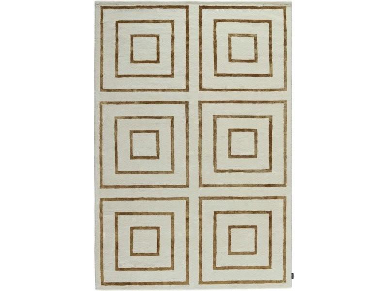 tapis jules wabbes sur pointe quadrature beige dore