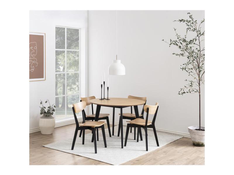 Table A Manger Ronde Gemirro O 105 Cm Noir Bois Vente De Table Conforama