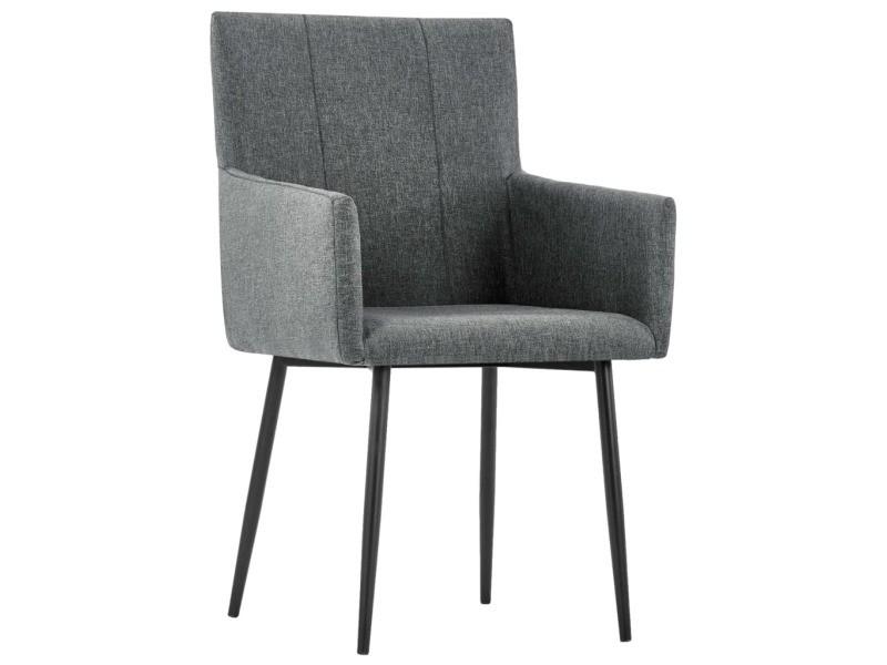 icaverne chaises de cuisine ligne chaises de salle a manger avec accoudoirs 6pcs gris fonce tissu