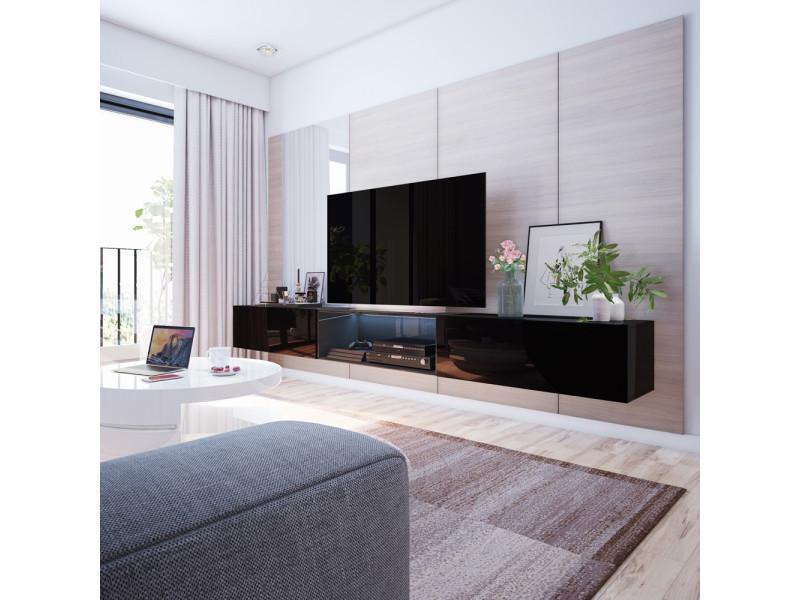 meuble tv larka 300 cm noir avec led
