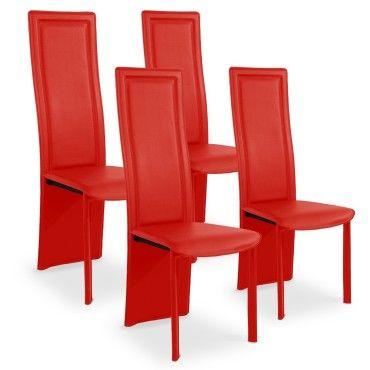 lot de 4 chaises design maestro rouge