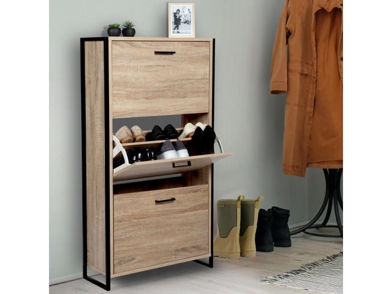 meuble a chaussures luis 3 portes design industriel