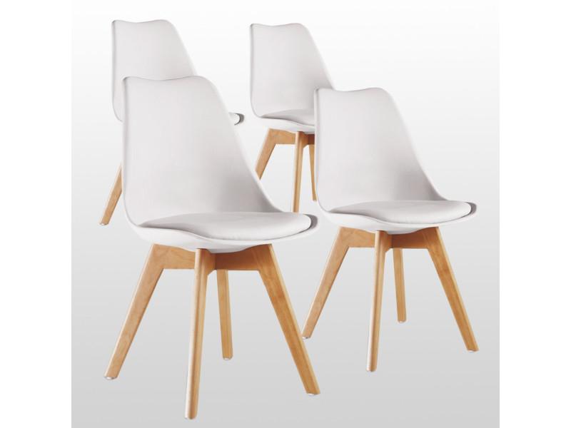 lot de 4 chaises scandinaves blanches lorenzo assise rembourree salle a manger cuisine ou bureau