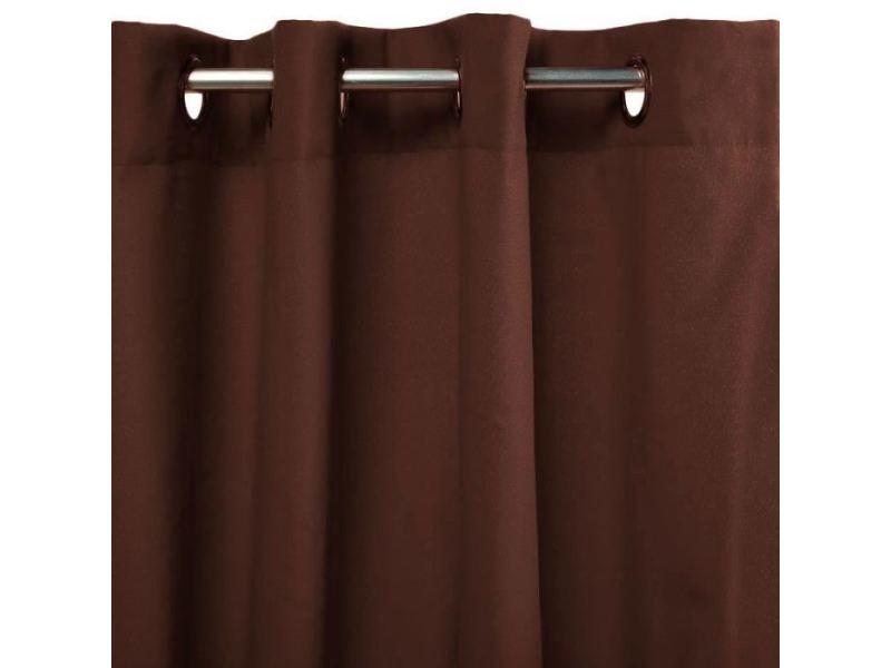 rideau double rideaux rideau first en polycoton 140 x 250 cm marron chocolat