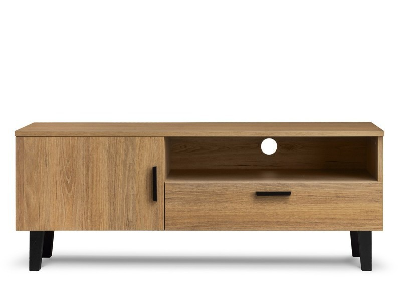 frili meuble tv style scandinave salon sejour 125 5x48 5x46 cm pieds en bois massif 1 tiroir 2 niches de rangement chene noir