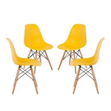 lot de 4 chaises scandinave jaune