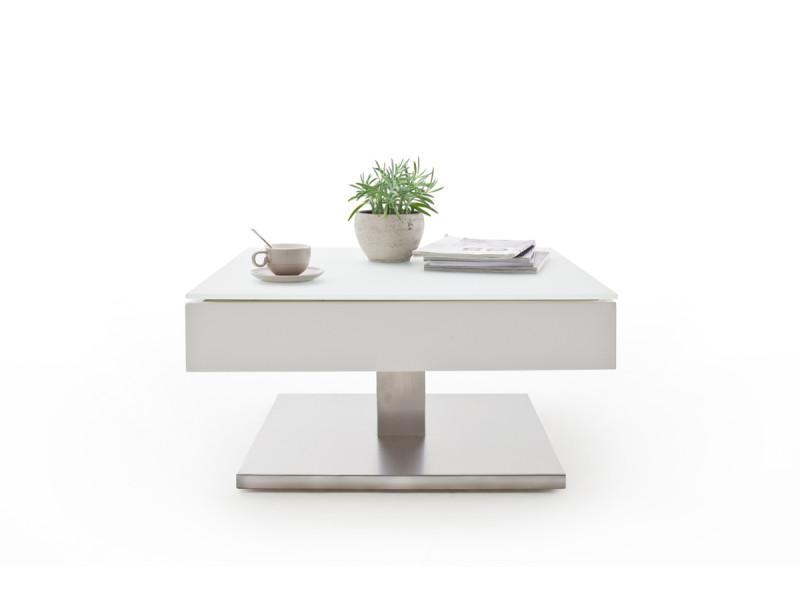 Table Basse Pivotant Avec Plateau En Verre Blanc Mat L75 X H38 X P75 Cm Pegane Vente De Table Basse Conforama