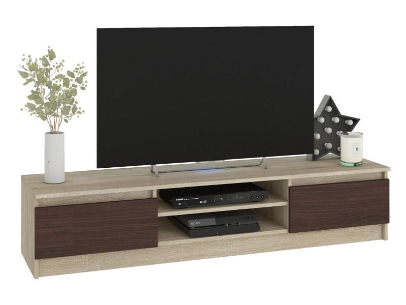 robin meuble bas tv contemporain salon sejour 160x33x40cm 2 niches 2 portes rangement materiel audio video gaming sonoma wenge